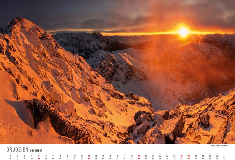 kalendarze górskie, kalendarz górski, kalendarz z krajobrazami, kalendarze ścienne, świnica, tatry zimą, tatry zachód słońca