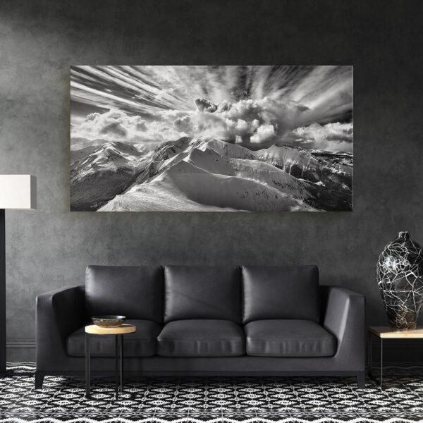 panorama z Kasprowego Wierchu, z miłości do gór, wydruki z Tatrami, wydruk z górami, najpiękniejsze zdjęcia Tatr, widoki z Kasprowego Wierchu, Kasprowy Wierch, PKL, Polskie Koleje Linowe Kasprowy Wierch, Tatrzański Park Narodowy, fotografia Tatra na płótnie, Panorama Tatr, Tatry czarno białe, krajobraz czarno biały